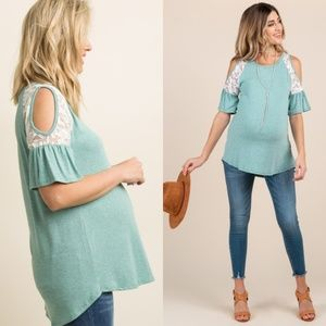 Pinkblush Maternity Mint Cold Shoulder Top